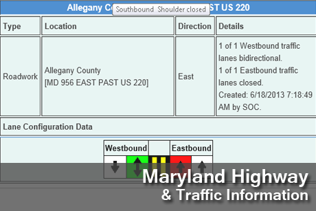 A link to Maryland Highway & Traffic Information page image